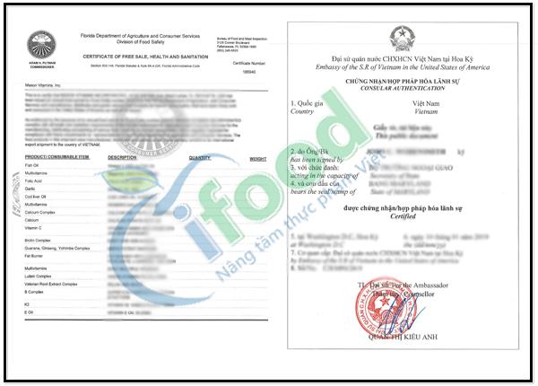 Giấy chứng nhận lưu hành tự do (Certificate of Free Sale) Mỹ
